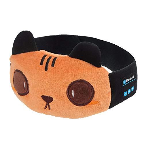 Z&HA Intelligente Bluetooth Draadloze Oortelefoon Oogmasker Voor Vrouwen Headset Slaap Hoofdtelefoon Cartoon Kat Stijl Geschenken Voor Kinderen, Volwassene, Jongens En Meisjes, Licht Blokkeren Siesta Reizen Verstelbare Hoofdband