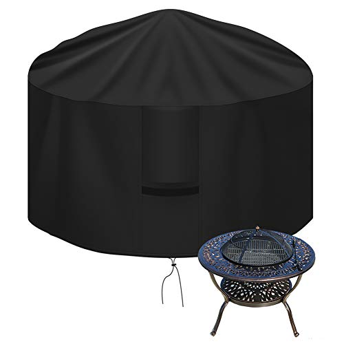OKPOW Fire Pit Cover Round, 600D Heavy Duty Outdoor Firepit Covers Waterproof Windproof Anti-UV Garden Patio Protective Cover for Fire Pit/Table, Black