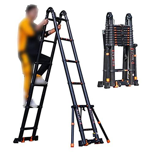 XIAOR Ladder Telescópica Plegable Multi-formato, Escalera De Ingeniería De Bricolaje Multiusos Expandible, Para Proyectos De Talleres De Jardín Home, Con Barra De Equilibrio(Size:4.1+4.1M,Color:Negro)