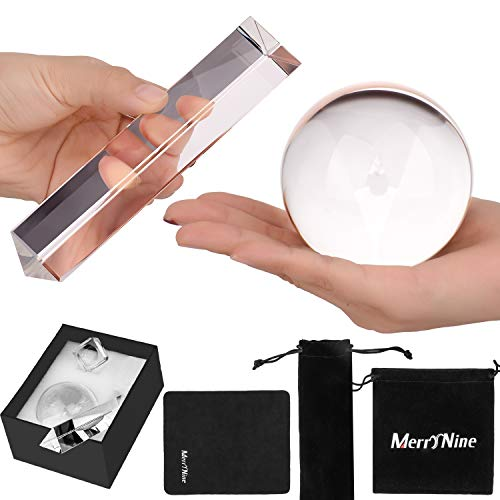 MerryNine 2 Pack K9 Optical Crystal Photography Kits, 80MM Lens Crystal Ball and 150MM Crystal Prism with Stand & Pouch, for Photography Teaching Light Spectrum Physics and Photo Prism Art Decor