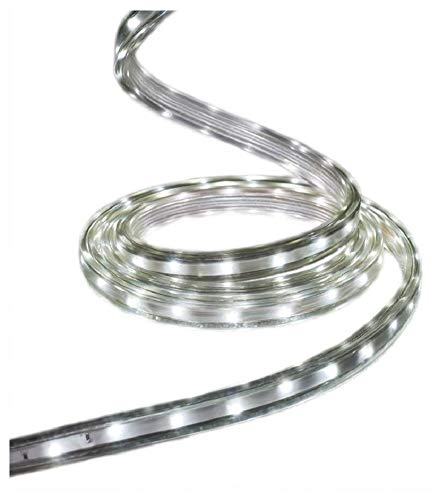 GE StayBright 216-Count 19.6-ft Multi-Function with White Integrated Led Plug-in Christmas Rope Lights with Clear Tubing 82162LO
