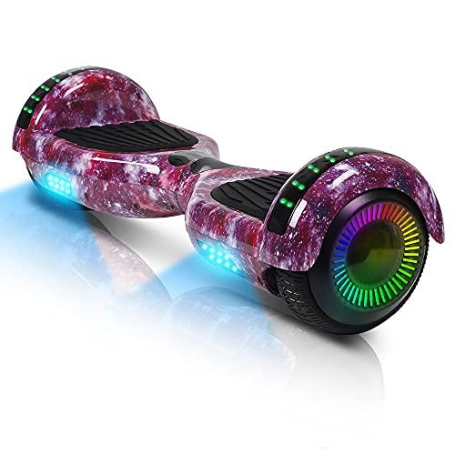 """Hoverboard, 6,5\"""" Selbstbalancierendes Scooter Hover Board mit Rädern Bluetooth Lautsprecher LED-Leuchten für Kinder Erwachsene (Rosa Stern)"""