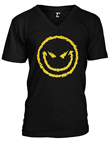 Evil Smile - Funny Badass Emoticon Unisex V-Neck T-Shirt (Black, Large)