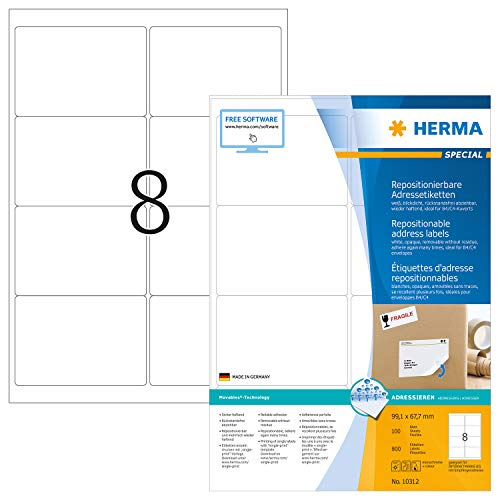 HERMA 10312 Adressaufkleber DIN A4 ablösbar (99,1 x 67,7 mm, 100 Blatt, Papier, matt) selbstklebend, bedruckbar, abziehbare & wieder haftende Adress-Etiketten, 800 Klebeetiketten, weiß