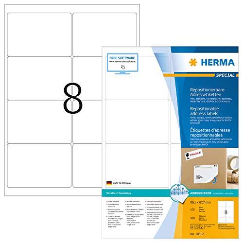 HERMA Etichette Staccabili, 99,1 x 67,7 mm, Etichette Adesive A4 per Stampante, 8 Etichette per Foglio, Bianco