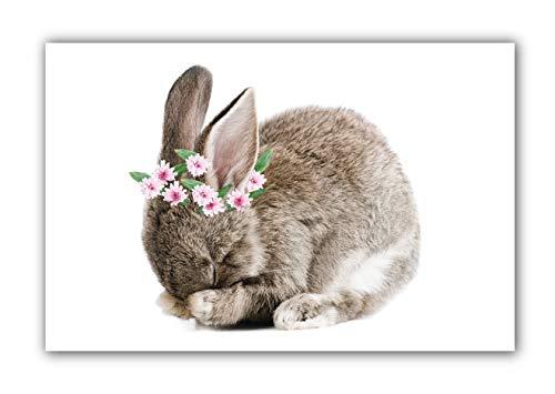 Bashful Bunny Floral Crown 11x17 (Unframed) Baby Nursery Wall Decor Prints (Option 1)