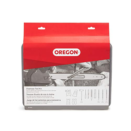 OREGON Premium Chainsaw Chain Sharpening Kit with Hard Case - Contains Files, Handles, Depth Gauge, Stump Vise, Felling Wedge, and More Accessories 601981