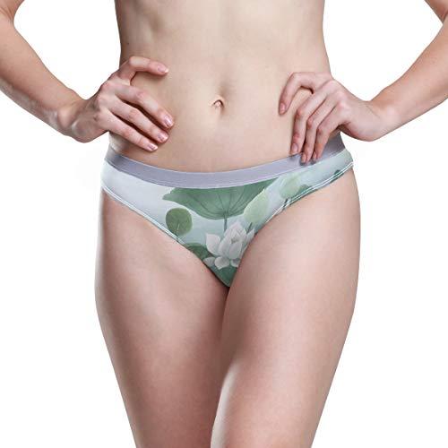 Damen-Unterwäsche, Bikini, Vintage-Stil, Lotusblume, 3D-Druck, sexy, niedrige Taille, Hipster, bequemer Slip, Größe S Gr. 3-4Jahre, weiß