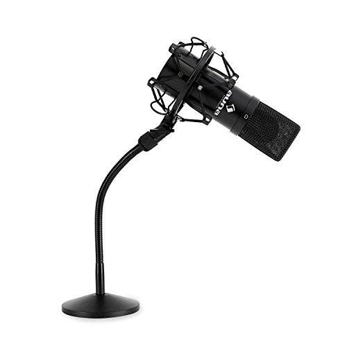 "Auna MIC-900B Mikrofon-Set Kondensatormikrofon USB Mikrofon mit Stativ 16mm Kapsel, inkl. Mikrofonspinne, 16mm (5/8\'\') Gewinde, 3/8"" zu 5/8""-Adapter, Nierencharakteristik, schwarz"