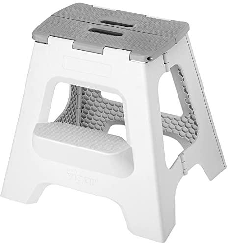 VIGAR Taburete plegable compacto plegable de 2 pasos, 16 pulgadas, ligero, capacidad de 330 libras, taburete plegable antideslizante para niños y adultos, color gris