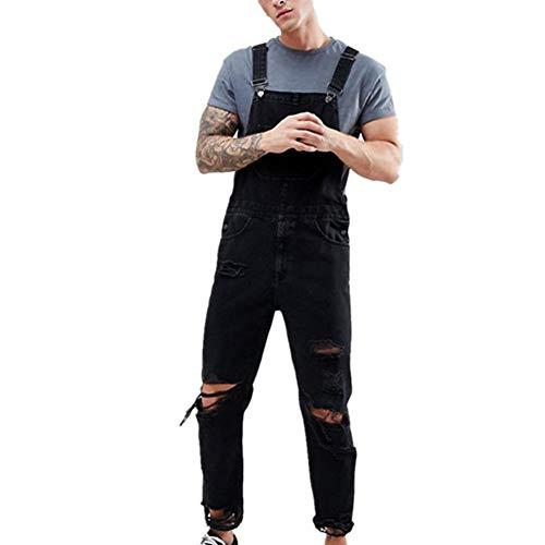 Fansu Herren Jeans Latzhose Overall, Arbeitshosen Lange Jeanshose Retro Denim Arbeitslatzhose Jumpsuit Destroyed Ripped Multifunktion Hose Arbeitskleidung (2XL,schwarz)