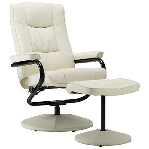 vidaXL Fernsehsessel mit Fußhocker Relaxsessel TV Sessel Liegesessel Lesesessel Polstersessel Bürosessel Ruhesessel Creme Kunstleder