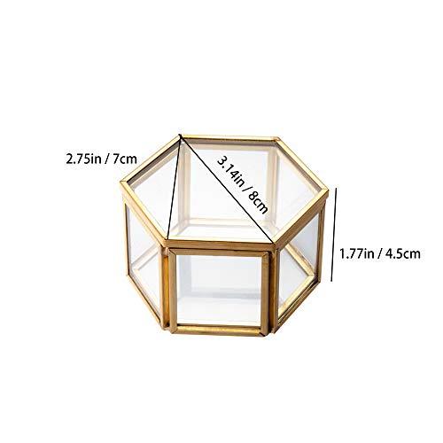 Feyarlジュエリーボックスジュエリー入れリングピロージュエリー収納ガラスボックス六角形ゴールド7.5cm