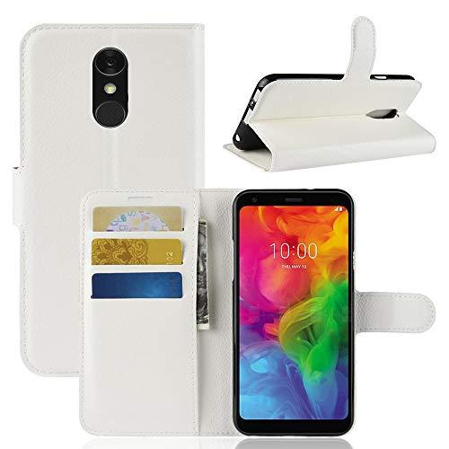Lapinette Hülle Kompatibel mit LG Q Stylus - Schutzhülle Klappbar Stoßfeste Folio - Lederhülle LG Q Stylus - Wallet Kartenfächer Standfunktion Magnet Weiß