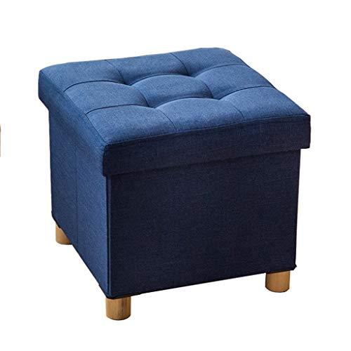 Taburete De Sofá, Taburete De Almacenamiento para Dormitorio Único Acolchado De Pie De Madera Maciza Tobillo-4, Cubierta Desmontable A++ (Color : Azul)