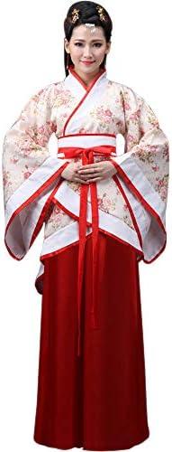 DAZISEN Ropa de Mujer Traje Tang - Traje Tradicional de Estilo Chino Antiguo Vestidos de Hanfu para Actuaciones Cosplay: Amazon.es: Ropa y accesorios