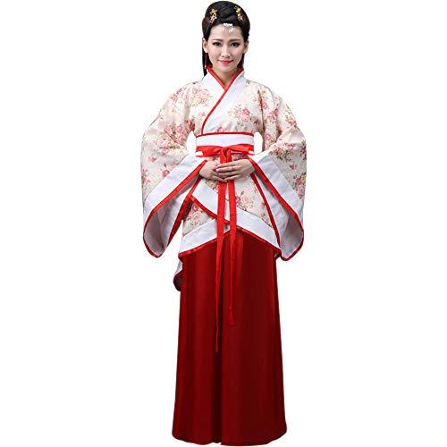 BOZEVON Ropa de Mujer Traje Tang - Traje Tradicional de Estilo Chino Antiguo Vestidos de Hanfu - para Show de Escenario Actuaciones Cosplay, Estilo-2/L