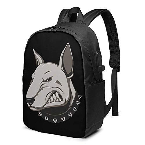 XCNGG Angry Doberman Travel Laptop Mochila College School Bag Mochila Informal con Puerto de Carga USB