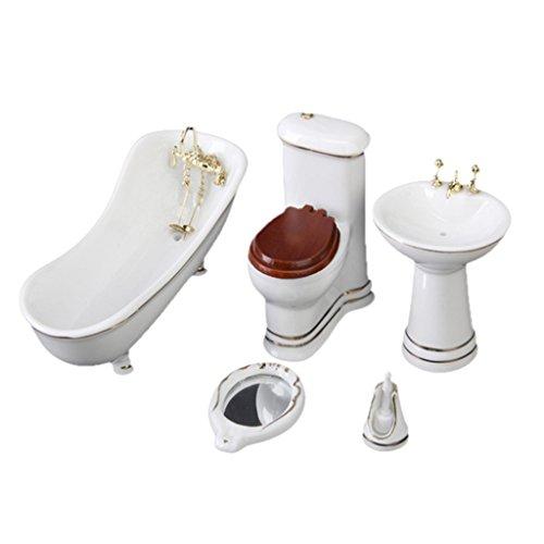 5pcs Mobiliers de Salles de Bains en Céramique Miniature pour Maison de Poupées