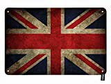 HOSNYE United Kingdom Flag Tin Sign UK British National Flags with Red White Blue Vintage Metal Tin Signs for Men Women Wall Art Decor for Home Bars Clubs Cafes 8x12 Inch