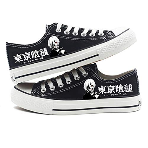 Unisex Canvas Shoes Tokyo Ghoul Anime Casual Lace Up Low Top Flat Sports Trainers Lightweight Sneakers Black