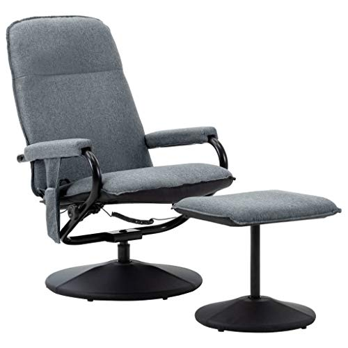 Irfora Massagesessel mit Hocker Fernsehsessel Relaxsessel mit Wärmefunktion TV Sessel Elektrisch Liegesessel Liegefunktion Heizung Relaxliege Ruhesessel, Hellgrau Stoff