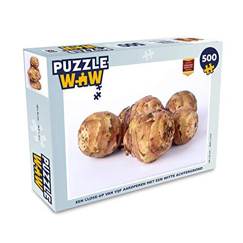 Puzzel 500 stukjes Aardpeer - Een close-up van vijf aardperen met een witte achtergrond - PuzzleWow heeft +100000 puzzels - legpuzzel voor volwassenen - Jigsaw puzzel 48x34 cm