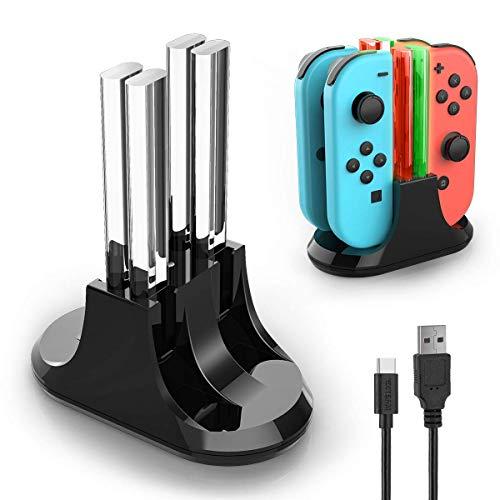 YCCTEAM Ladestation für Nintendo Switch Joy-Con, 4 in 1 Fernladegerät für Nintendo Switch, Joy-Con Controller Ladestation mit LED Anzeige und Typ C Kabel