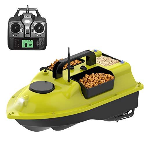 ZDSKSH RC Barco de Pesca Teledirigido Barco de Cebo de Pesca Inteligente Inalámbrico Buscador de Peces con Doble Motor y Luz Nocturna LED, Posición GPS, Retorno Automático, 1.9kg Carga, 5200mAh