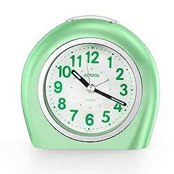 Silent Non Ticking Analog Alarm Clock with Nightlight Snooze Travel Alarm Clock Silent Sweep Second Hand, Lightweight Analog Quartz Clocks for Bedrooms (7231 Green)