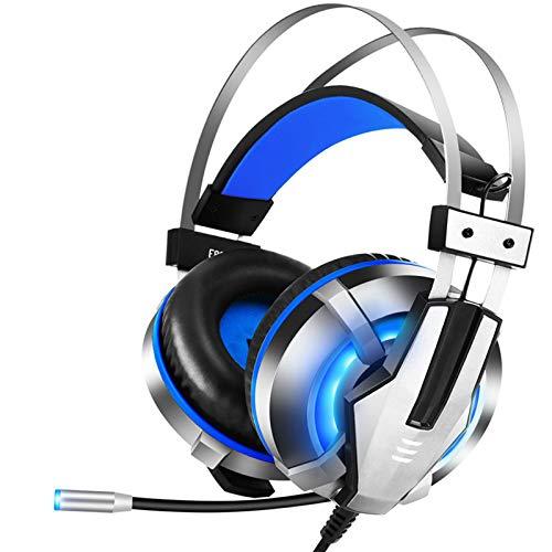 ASYHWZ 3,5-mm-Gaming Headset Bass Stereo Over-Ear-Kopfhörer mit bequemem Ohrschuetzer Noise Cancelling und Lautstärkeregler Kompatibel mit PS4 PS5 Konsole PC,Blau