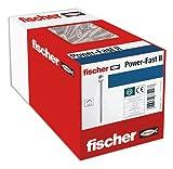 Fischer Power-Fast II 670177-500 viti per pannelli truciolari, testa svasata con stella interna TX filettatura parziale zincata tramite galvanizzazione, colore blu passivata