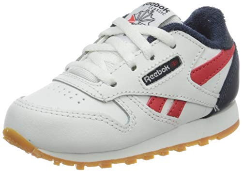 Reebok Unisex Baby Classic Leather Gymnastics Shoe, White/Collegiate Navy/Radiant Red, 25 EU