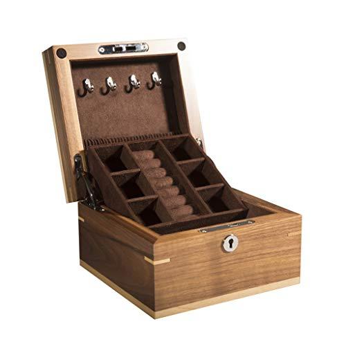 Preisvergleich Produktbild LXJ Retro Double-Layer-Schwarze Quadrat Kleine Schmuckschatulle,  Nussbaum Massivholz Schmuck Aufbewahrungsbox,  Schloss Armband Aufbewahrungsbox,  14.7X14.7X9.3CM (Color : B)