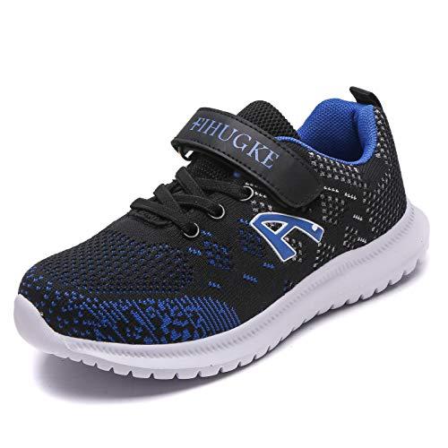FIHUGKE Kinder Schuhe Sportschuhe Ultraleicht Atmungsaktiv Turnschuhe Klettverschluss Low-Top Sneakers Laufen Schuhe Laufschuhe für Mädchen Jungen, Schwarz Blau A, 34 EU
