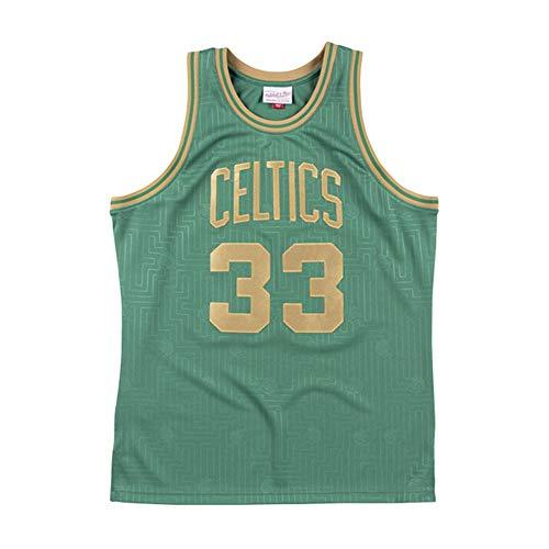 JCSW Maglia Basket Uomo NBA Basketball Maglia Larry Bird # 33, Traspirante Resistente all'Uso Ricamato Felpa T-Shirt + Shorts, XS-XXL, FHI077IHF (Color : B, Size : S)