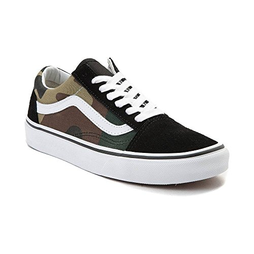 Vans Old Skool Skate Shoe (10.5 Women / 9 Men M US, (Woodland Camo) Black/Woodland 7203)