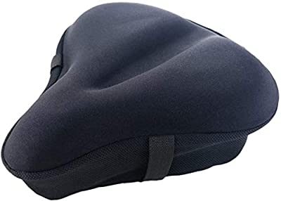 iGoods Gel Bike Seat Cushion Cover for Men and Women, UPDATED Soft Wide Bike Bicycle Saddle Cushion Pad fits for Big size Cruiser Stationary Seat,OutdoorSpinning Cycling Accessory Xmas Gift (Black)
