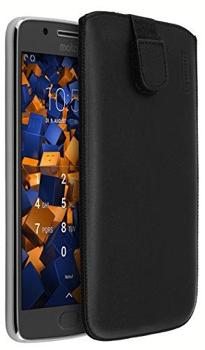 mumbi Echt Ledertasche kompatibel mit Lenovo Moto G5 Hulle Leder Tasche Case Wallet schwarz