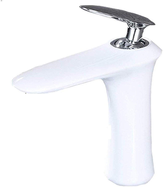 AWDTN Elegant Hoch Weiss Waschtischarmatur Bad Aufsatz-Waschbecken Wasserhahn Einhebelmischer Mischbatterie Hoher Auslauf Armatur Badezimmer aus Messing,A