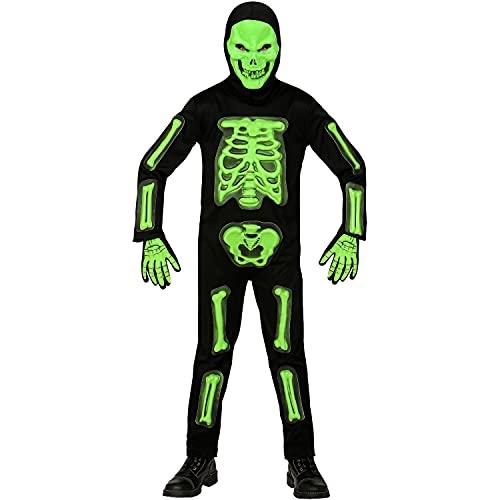 Widmann - Kinderkostüm 3D-Skelett, 4-teilig, Grün-Schwarz, Overall, Maske mit Kapuze und 1 Paar Handschuhe, Totenkopf, Knochen, Kostüm, Verkleidung, Mottoparty, Karneval, Halloween