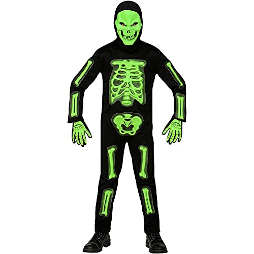 Widmann - Costume enfant squelette 3D 4 pièces vert et noir, combinaison, masque à capuche et 1 paire de gants, tête de mort, os, déguisement, fête à thème, carnaval, Halloween