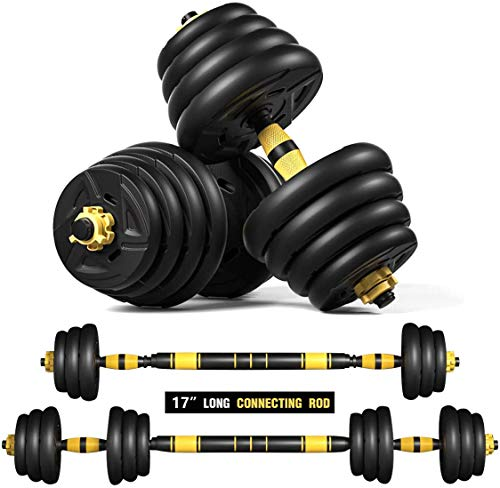 Alderman Weights Dumbbells Set with Connecting Rod, Rubber Non-Slip Barbell Weights Set for Home Gym, Strength Training Weights Set, Fitness Exercise Training Equipment for Gym Work Out (44LB)