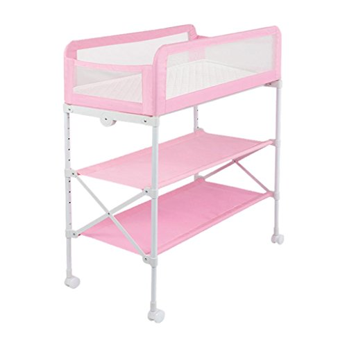 Review ALUS- Baby Cot Splicing Bed Multifunction Height Adjustable Baby Cot, 0~3 Years Old Newborn Cradle Bed, Foldable Diaper Table, Care Station, Bathing Station (Color : Pink)
