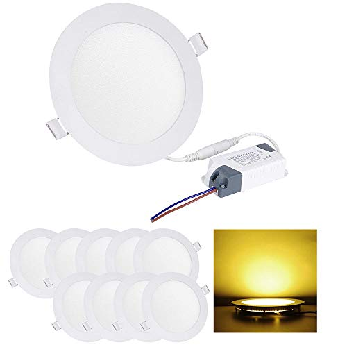 Yescom 12W 6 LED Recessed Panel Ceiling Light Ultra-thin 960LM Warm White 100W Equivalent Downlight (Pack of 10)