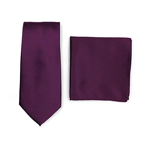 Puccini PUCCINI Krawatte + Einstecktuch ? Einfarbig/Uni in ausgewählten Farben ? Handarbeit (Violett)