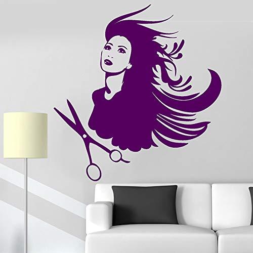 Zhuhuimin kapsalon barbershop muursticker stylist kapper wandtattoos wooncultuur raamdecoratie DIY Hair Beauty Salon wanddecoratie 42x44cm 1