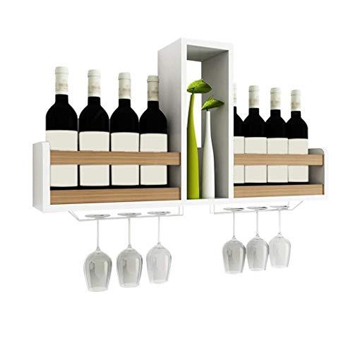 Glyyr Weinregal Stehende Weinregale freistehend hölzerner wandmontierter Schrank, Vintage Champagnerflasche Lagerregal, hält 8 Weinflaschen und 6 Gläser, L80xD14.5xh41cm (Farbe: Holzfarbe), Farbe: wei