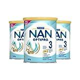 NAN - Optipro 3 Leche De Crecimiento En Polvo, 3 latas x 800 g