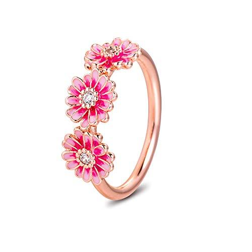2020 primavera rosa margarita flor trío anillos para mujer plata 925 DIY se adapta a pulseras originales Pandora encanto joyería de moda (54 #)